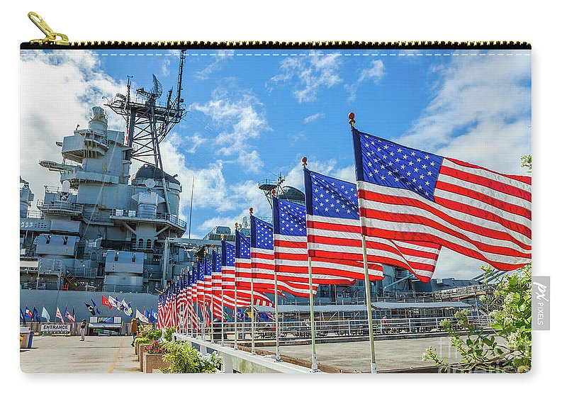 Pearl Harbor Carry-all Pouch featuring the photograph Missouri Warship Memorial Flags by Benny Marty