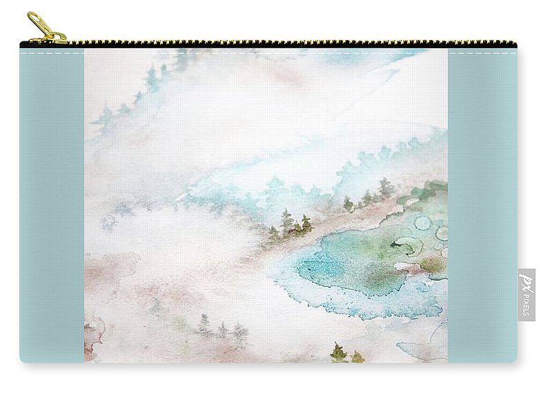 Forrest Carry-all Pouch featuring the painting Mist In Norwegian Wood by Lina Jordan