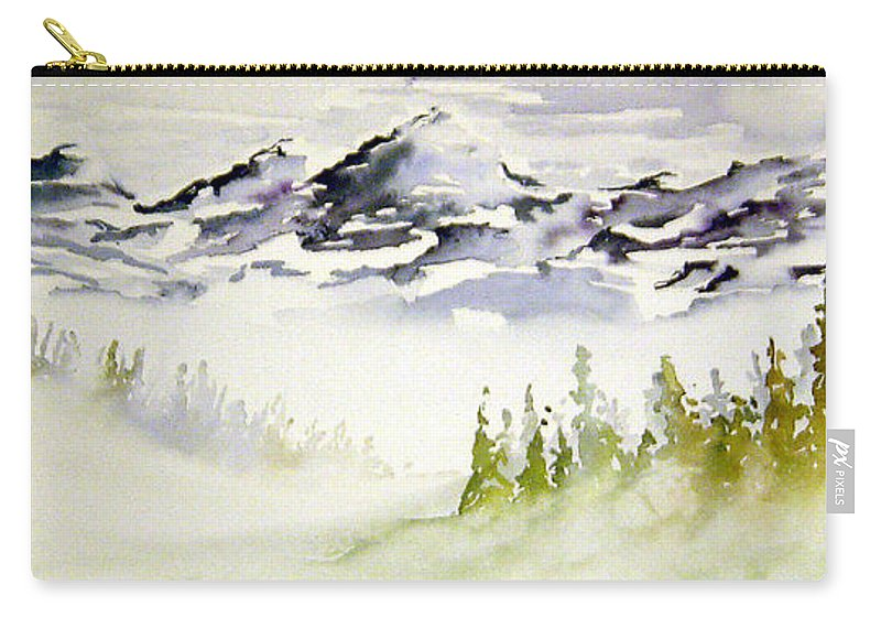 Rock Mountain Range Alberta Canada Carry-all Pouch featuring the painting Mist In The Mountains by Joanne Smoley