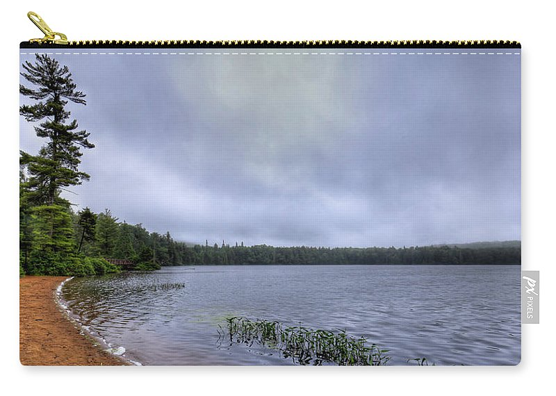 Mist Over Nicks Lake Carry-all Pouch featuring the photograph Mist Over Nicks Lake by David Patterson