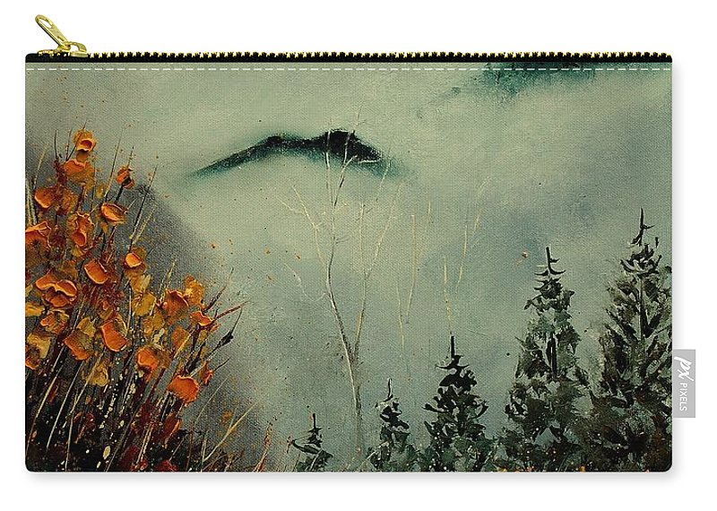 Landscape Carry-all Pouch featuring the painting Mist Today by Pol Ledent