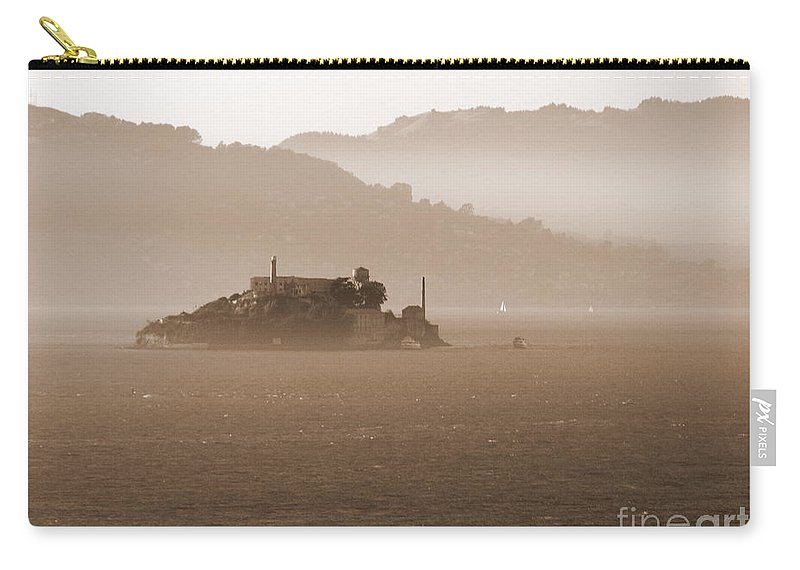 San Francisco Carry-all Pouch featuring the photograph Misty Alcatraz by Carol Groenen