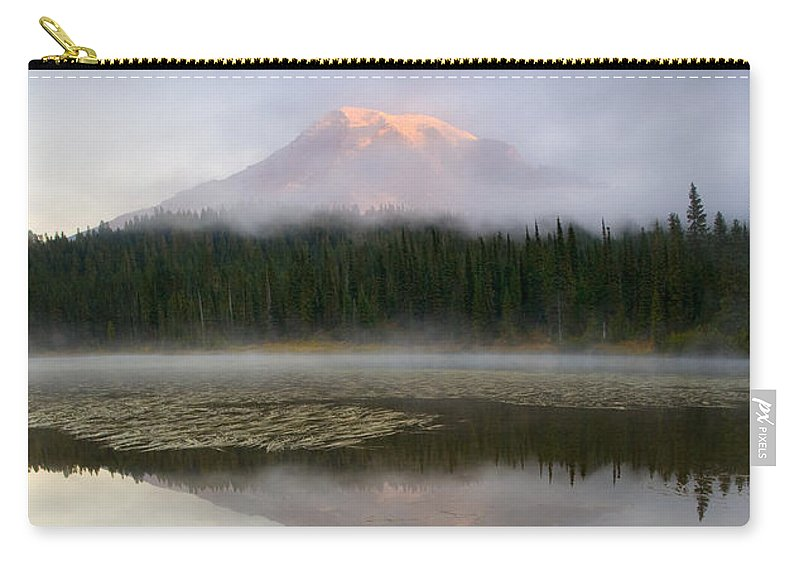 Mt. Rainier Carry-all Pouch featuring the photograph Misty Alpenglow by Mike Dawson