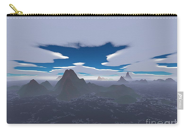 Aerial Carry-all Pouch featuring the digital art Misty Archipelago by Gaspar Avila