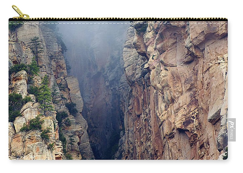 Red Rocks Carry-all Pouch featuring the photograph Misty Canyons by Phyllis Denton