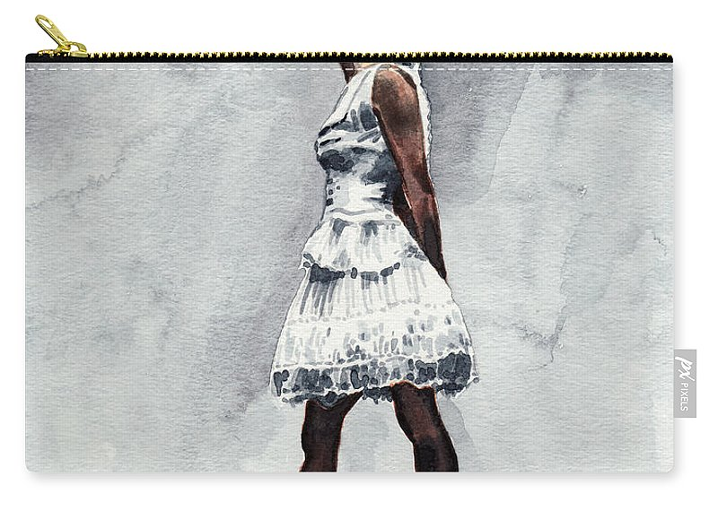 Misty Copeland Carry-all Pouch featuring the painting Misty Copeland Ballerina As The Little Dancer by Laura Row