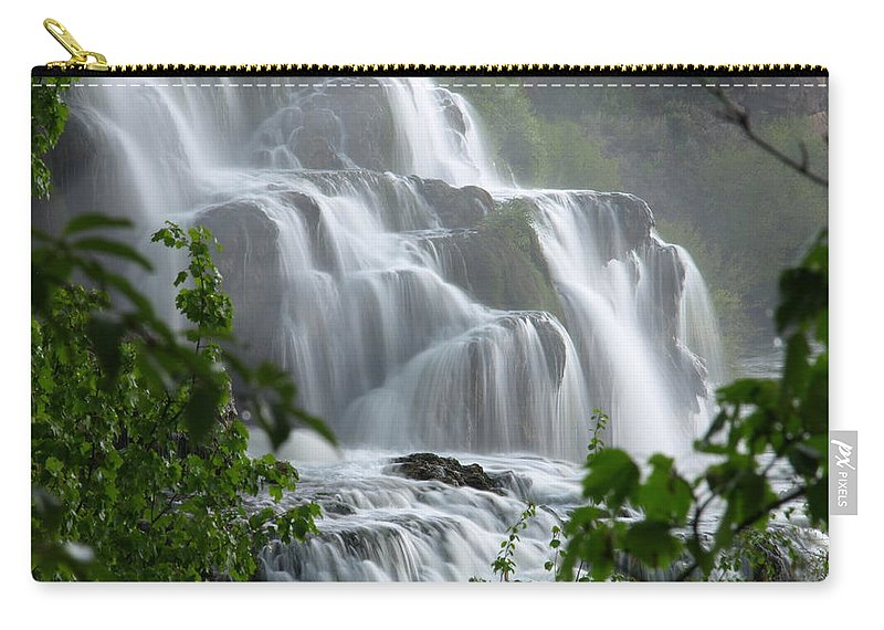 Waterfalls Carry-all Pouch featuring the photograph Misty Falls by DeeLon Merritt