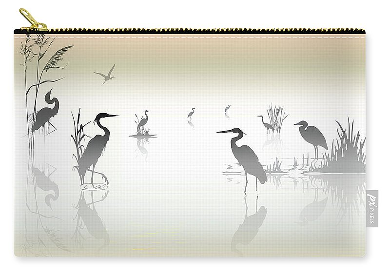 2d Carry-all Pouch featuring the photograph Misty Heron Silhouettes by Brian Wallace