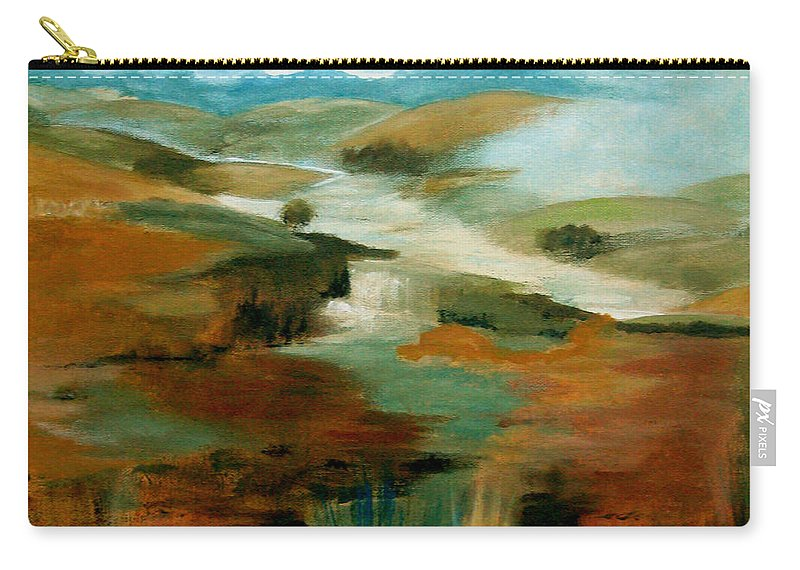 Abstract Carry-all Pouch featuring the painting Misty Hills by Ruth Palmer