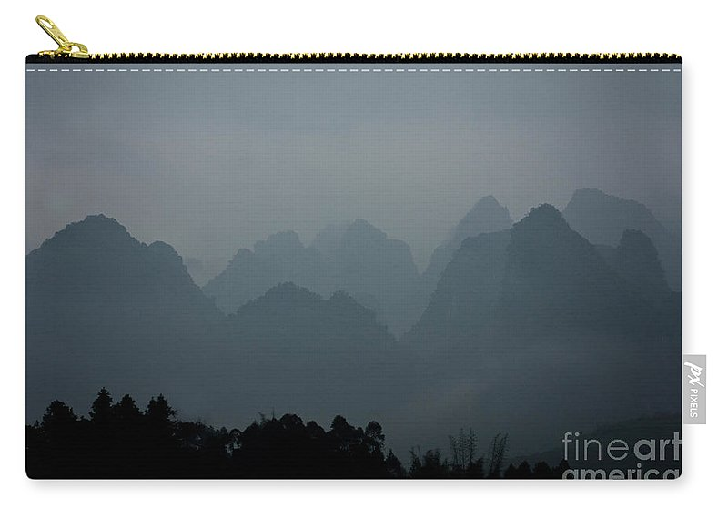 Guangxi Carry-all Pouch featuring the photograph Misty Karst Landscape by Dant� Fenolio