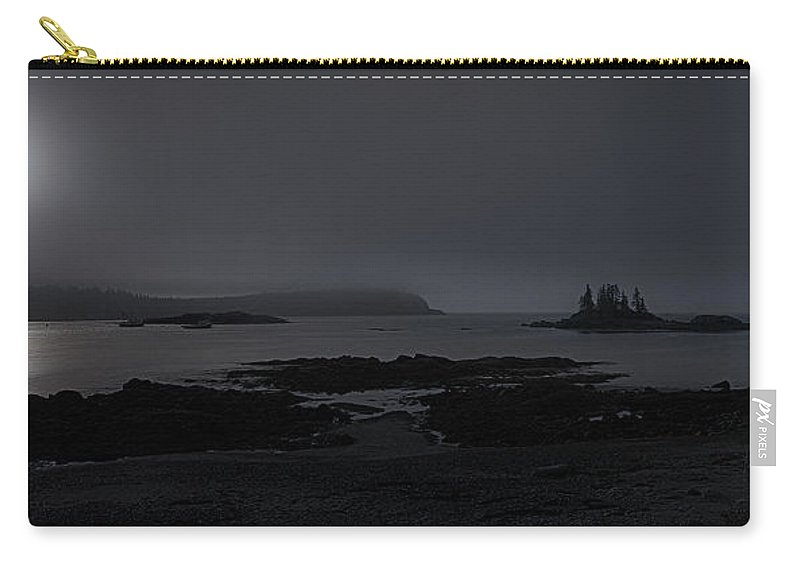 Misty Moonlight On Wallace Cove Carry-all Pouch featuring the photograph Misty Moonlight On Wallace Cove by Marty Saccone