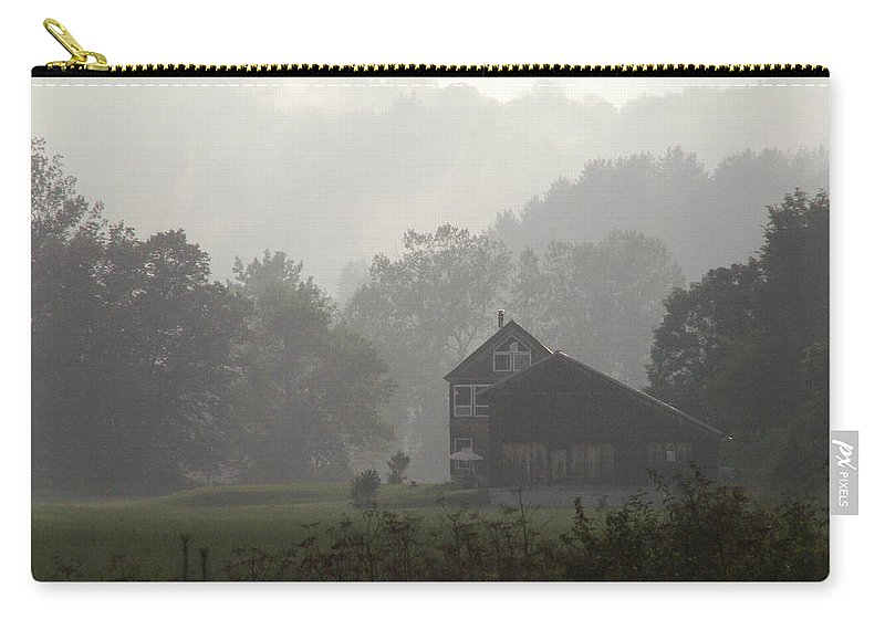 Landscape Carry-all Pouch featuring the photograph Misty Morning In Vermont by Nancy Griswold