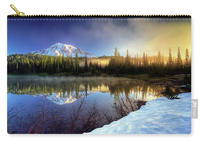Mountain Carry-all Pouch featuring the photograph Misty Morning Lake by William Freebilly photography