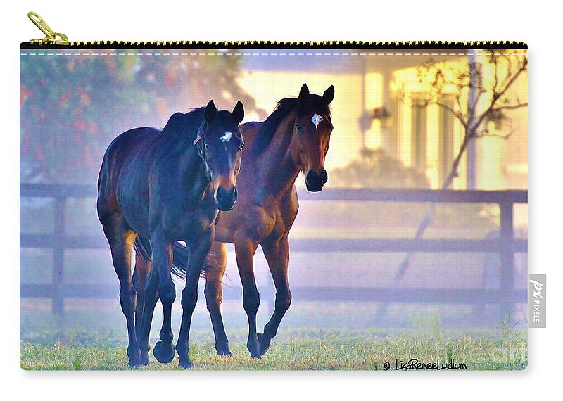 Horse Carry-all Pouch featuring the photograph Misty Morning by Lisa Renee Ludlum