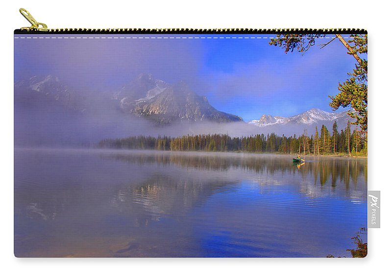 Lake Carry-all Pouch featuring the photograph Misty Morning On A Canoe by Scott Mahon