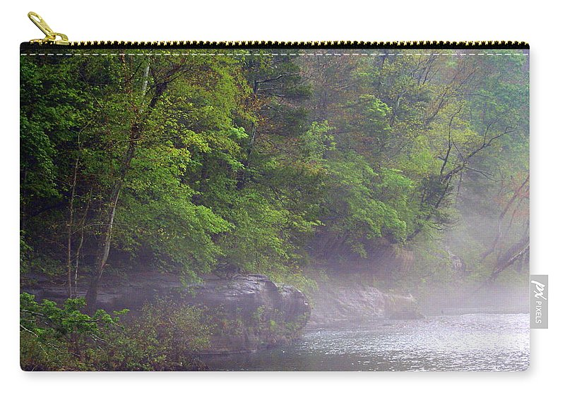 Buffalo National River Carry-all Pouch featuring the photograph Misty Morning On The Buffalo by Marty Koch