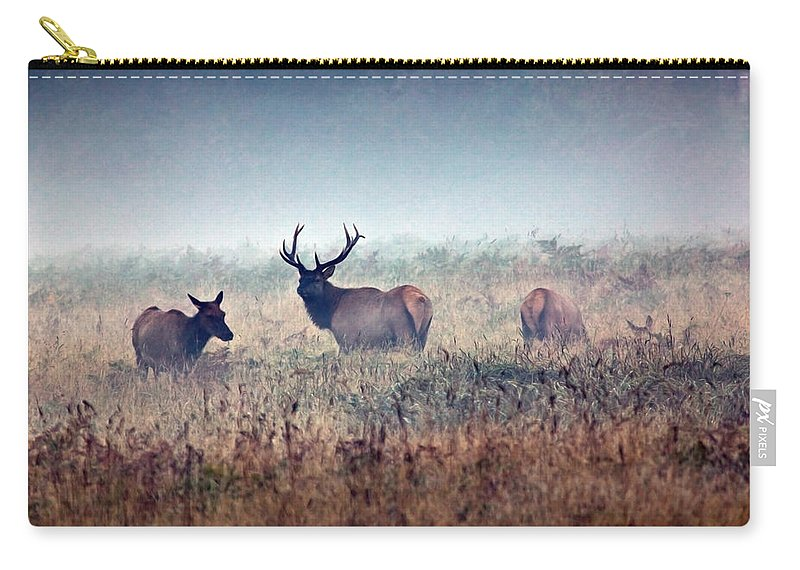 Elk Carry-all Pouch featuring the photograph Misty Morning by Randall Ingalls