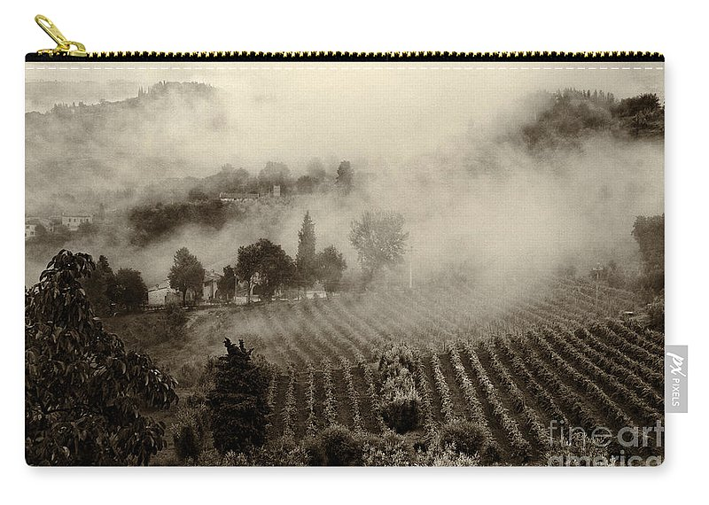 Tuscany Carry-all Pouch featuring the photograph Misty Morning by Silvia Ganora