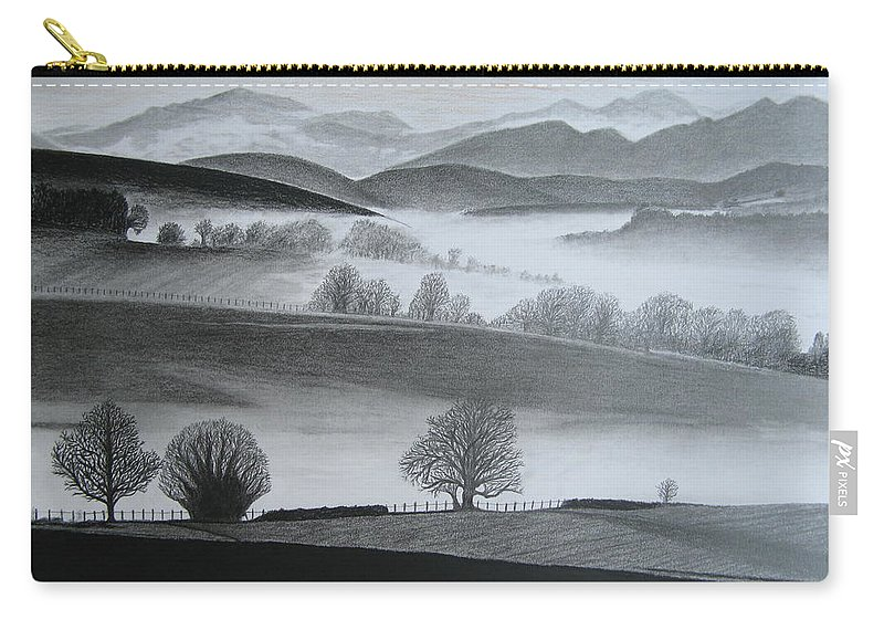 Landscapes Carry-all Pouch featuring the drawing Misty Morning by Stephen W Keller
