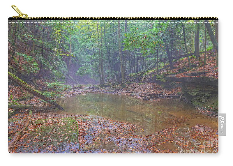 Misty Morning Woodscape Carry-all Pouch featuring the digital art Misty Morning Woodscape Two by Randy Steele