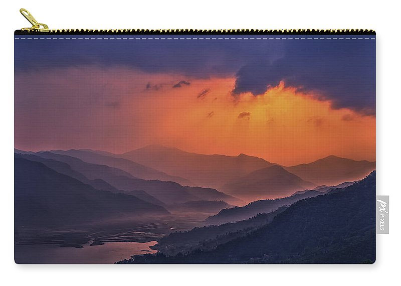 Blue Carry-all Pouch featuring the mixed media Misty Sunset by Yuka Ogava