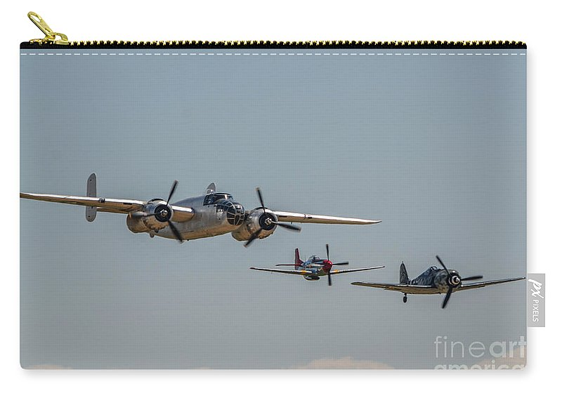 North American B-25 Mitchell Carry-all Pouch featuring the photograph Mitchell And Friends by Tommy Anderson