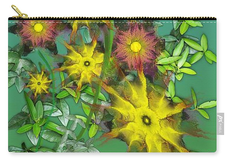 Flowers Carry-all Pouch featuring the digital art Mixed Flowers by David Lane