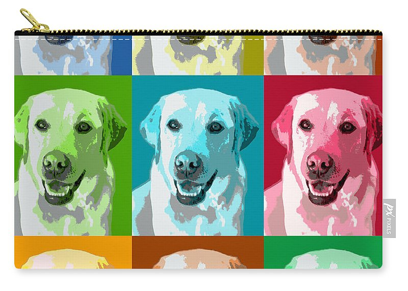 Americana Carry-all Pouch featuring the photograph Golden Labrador Warhol by Marilyn Hunt