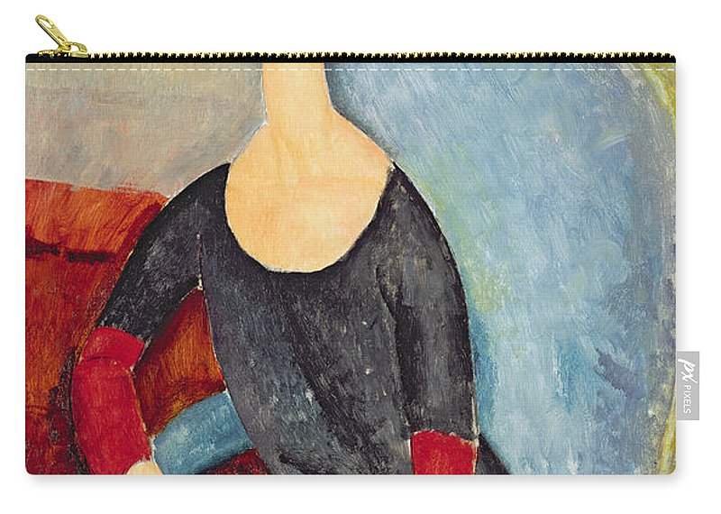 Mme Hebuterne In A Blue Chair Carry-all Pouch featuring the painting Mme Hebuterne In A Blue Chair by Amedeo Modigliani