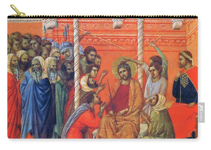 Mockery Carry-all Pouch featuring the painting Mockery Of Christ 1311 by Duccio