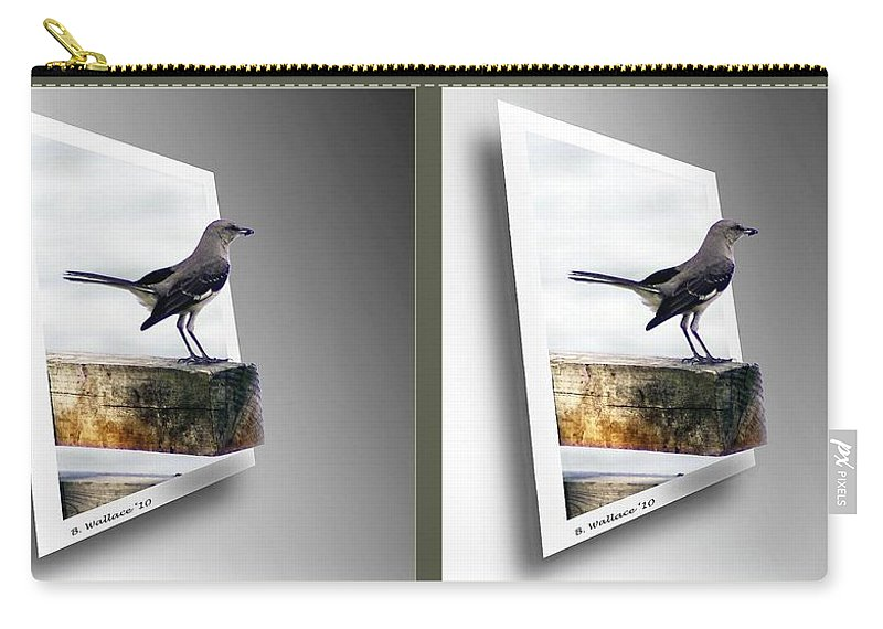 3d Carry-all Pouch featuring the photograph Mockingbird - Gently Cross Your Eyes And Focus On The Middle Image by Brian Wallace