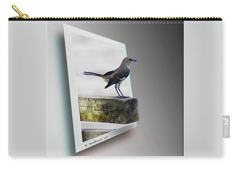 3d Carry-all Pouch featuring the photograph Mockingbird - Use Red-cyan 3d Glasses by Brian Wallace