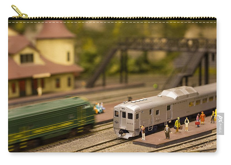 Trains Carry-all Pouch featuring the photograph Model Trains by Patrice Zinck