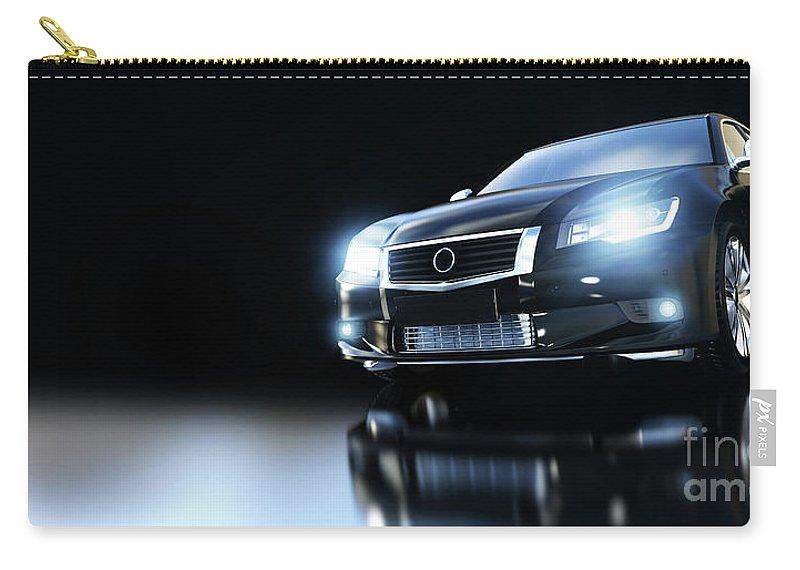 Car Carry-all Pouch featuring the photograph Modern Black Metallic Sedan Car In Spotlight. Banner by Michal Bednarek