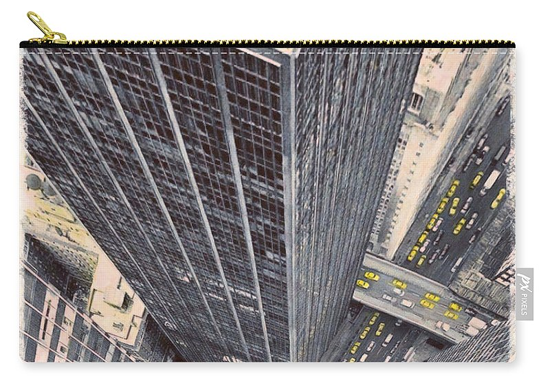 Architecture Carry-all Pouch featuring the painting Modern Skyscrapers by Jeelan Clark