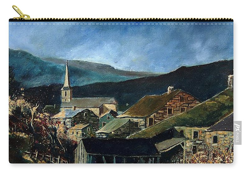 Village Carry-all Pouch featuring the painting Mogimont Village Ardennes by Pol Ledent