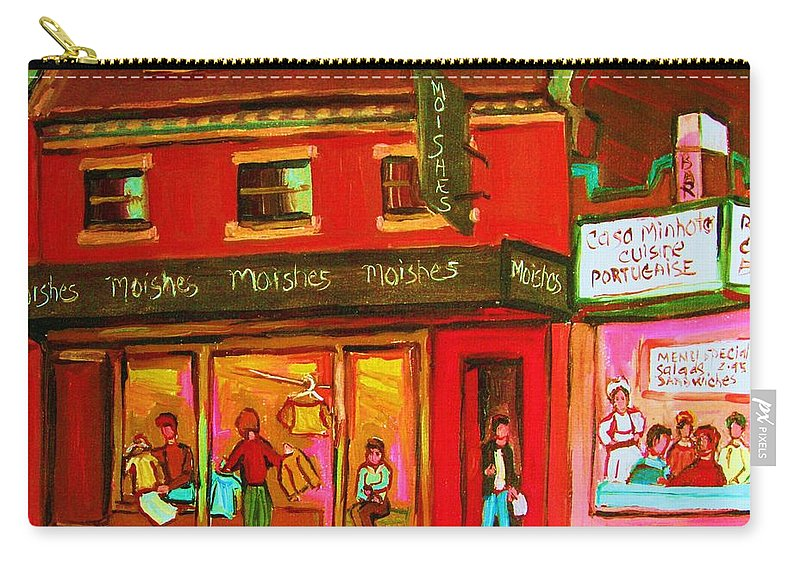 Moishes Carry-all Pouch featuring the painting Moishes Steakhouse On The Main by Carole Spandau