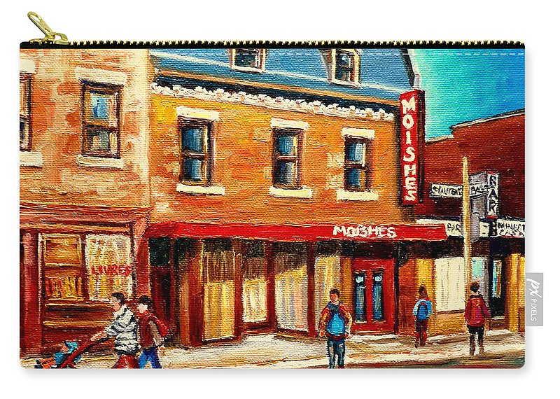 Moishes Steakhouse Carry-all Pouch featuring the painting Moishes The Place For Steaks by Carole Spandau