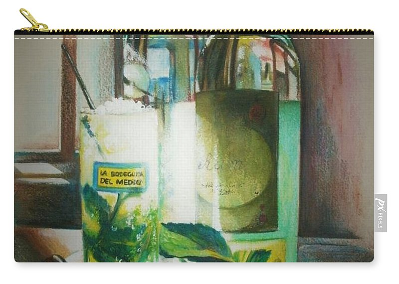 Bottles Carry-all Pouch featuring the painting Mojito by Alessandra Andrisani