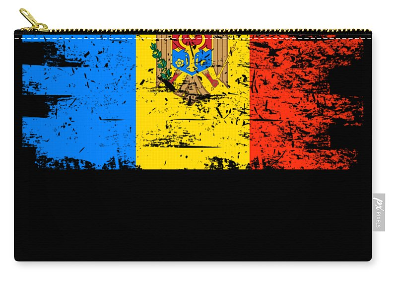 Patriotic Carry-all Pouch featuring the digital art Moldova Gift Country Flag Patriotic Travel Shirt Europe Light by J P