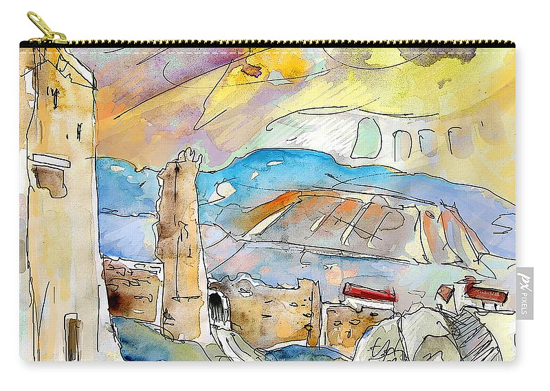 Travel Sketch Carry-all Pouch featuring the painting Molina De Aragon Spain 03 by Miki De Goodaboom