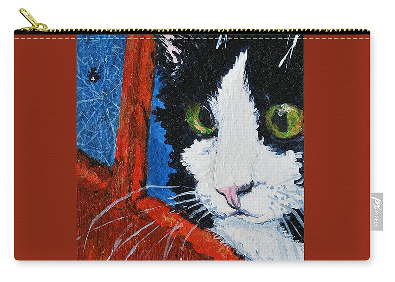 Cat Carry-all Pouch featuring the painting Molly by Reina Resto