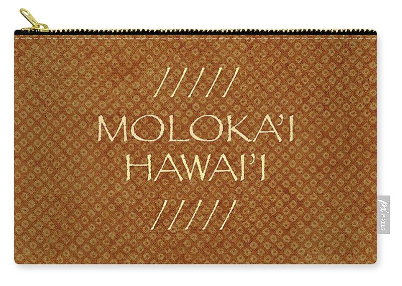 Molokai Hawaii Coffee Mug Carry-all Pouch featuring the digital art Molokai Hawaii Kapa Cloth by James Temple