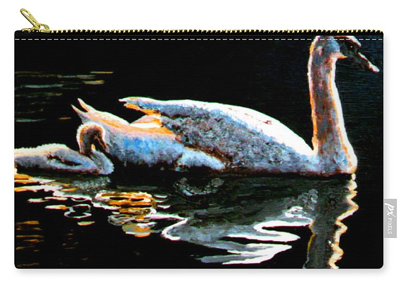Swan Carry-all Pouch featuring the painting Mom And Baby Swan by Stan Hamilton