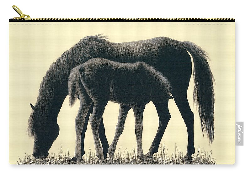 Horses Carry-all Pouch featuring the drawing Mom And Son by Yelena Shabrova