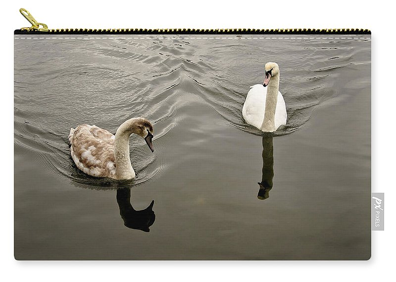 Swan Carry-all Pouch featuring the photograph Mom Is In A Bad Mood. by Elena Perelman