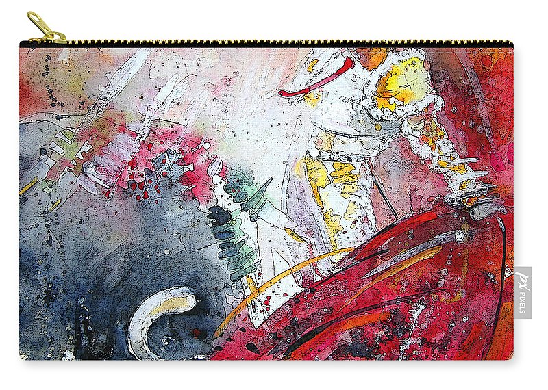 Watercolour Carry-all Pouch featuring the painting Moment Of Truth 2010 by Miki De Goodaboom