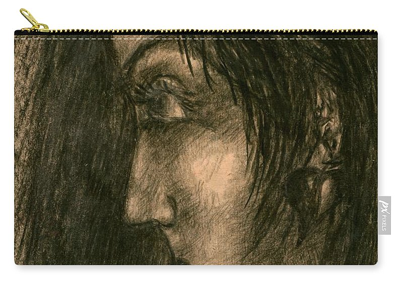 Psychedelic Carry-all Pouch featuring the drawing Moment by Wojtek Kowalski