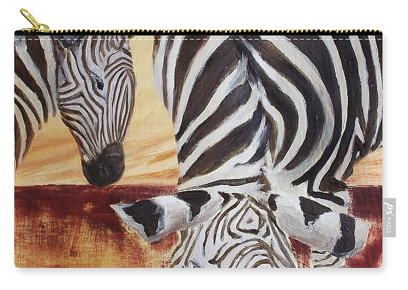 Animal Carry-all Pouch featuring the painting Momma And Baby by Todd Blanchard