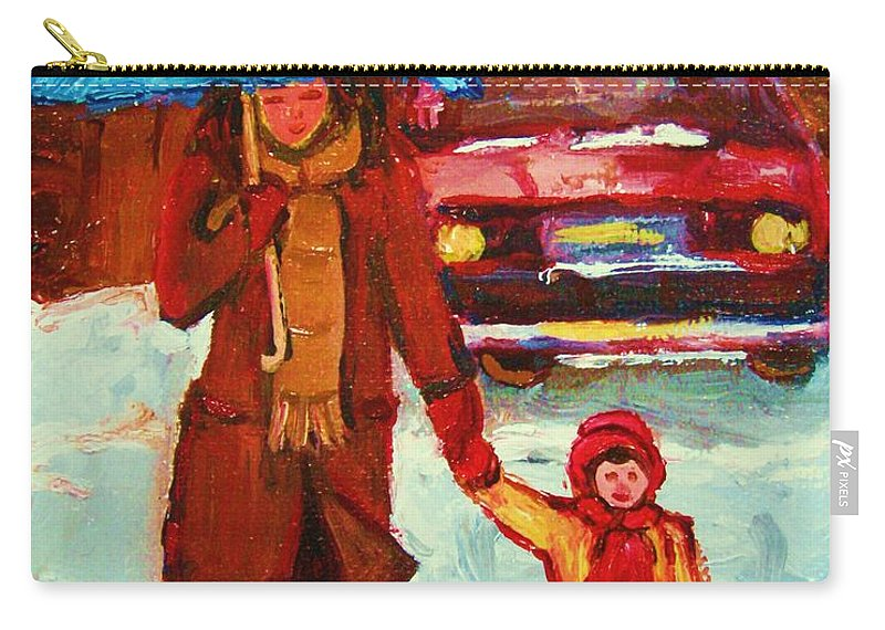 Montreal Carry-all Pouch featuring the painting Moms Blue Umbrella by Carole Spandau